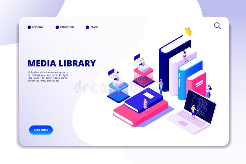 Online library landing page. Students in bibliotheque, academic books. Ebook reading technology education vector royalty free illustration
