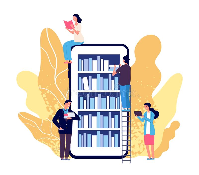 Online library. People reading books. Vector smartphone with reader app. Online book store, library and education flat royalty free illustration