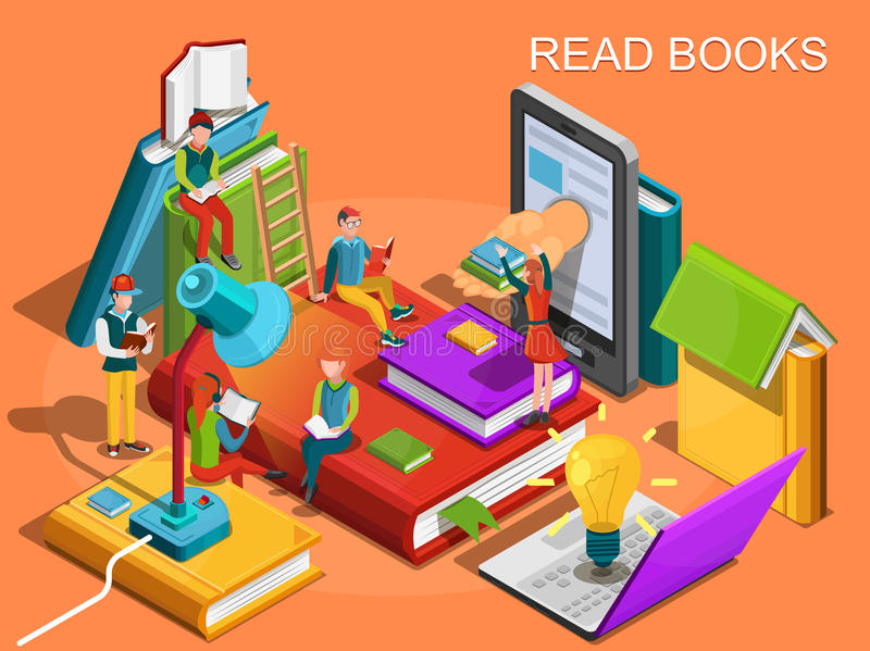 Online library. The process of education, the concept of learning and reading books in the library. University studies vector illustration