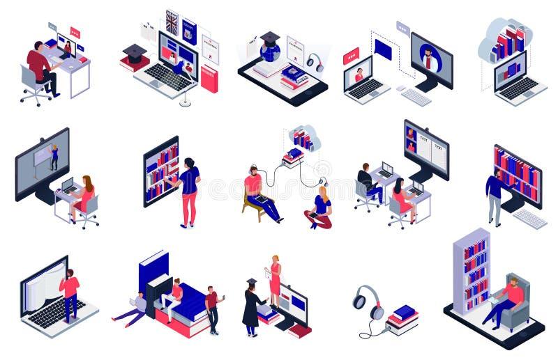 Online Library Set stock illustration