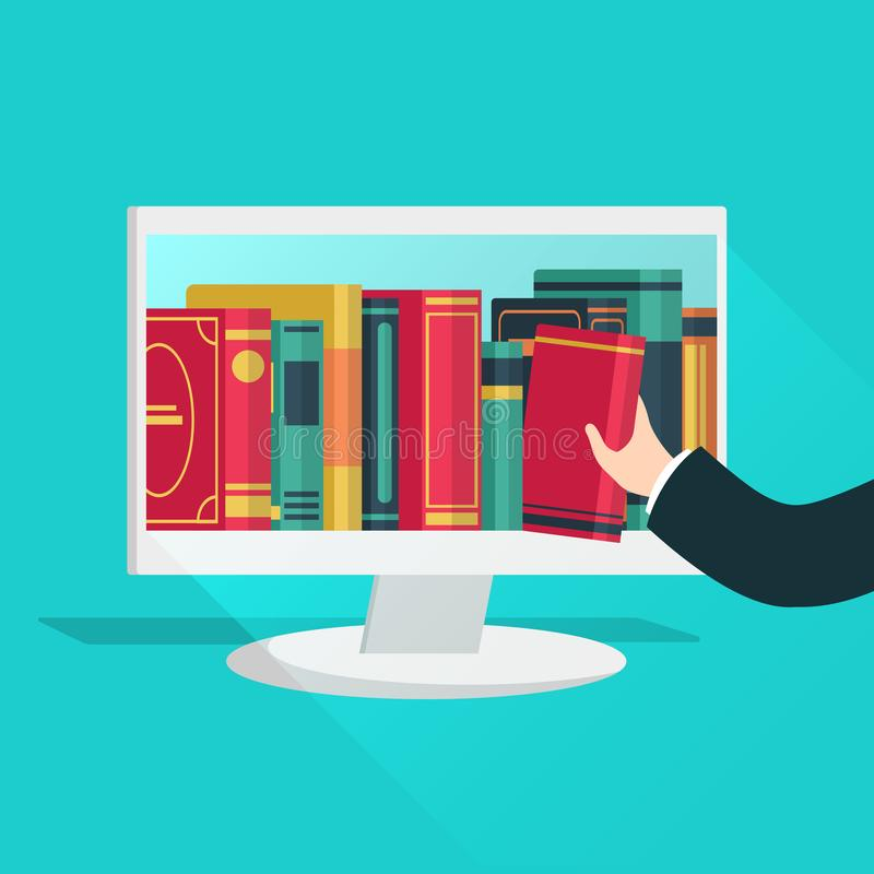 Online library. Website books store learning digital study read ebook catalog education files internet shop device flat royalty free illustration