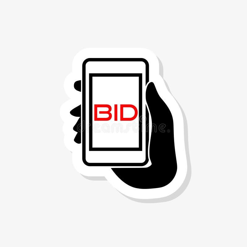 Online licytować aukcyjną telefon komórkowy ofertę ilustracji