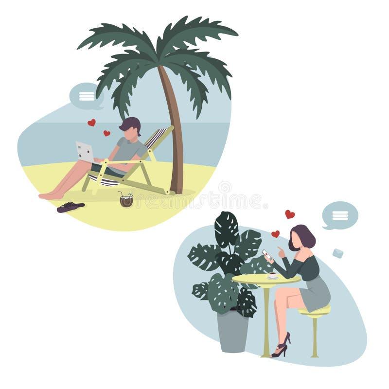Online liefdeverhaal Liefde bij een afstand vector illustratie