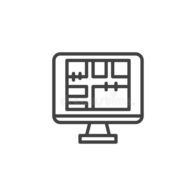Online-linje symbol för husplanläggning royaltyfri illustrationer