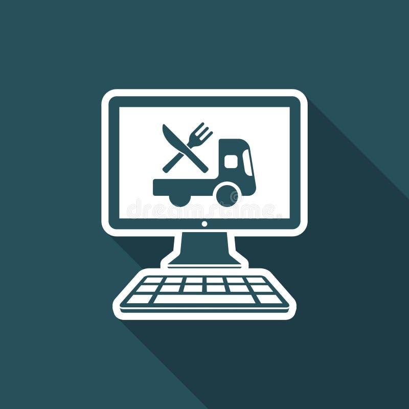 Online-livsmedelsbutik - leverans - plan symbol för vektor royaltyfri illustrationer