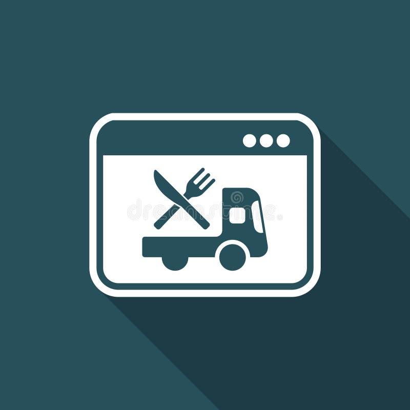 Online-livsmedelsbutik - leverans - plan symbol för vektor stock illustrationer