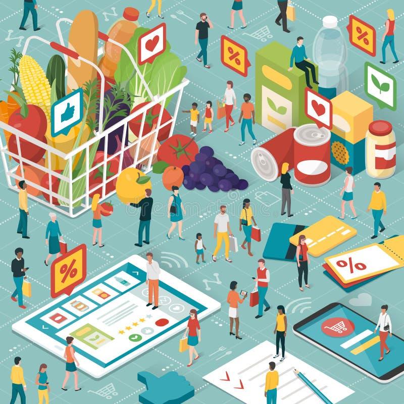 Online-livsmedelsbutikshopping vektor illustrationer