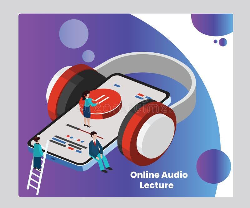 Online-ljudsignal föreläsning för isometriskt konstverkbegrepp för utbildning stock illustrationer