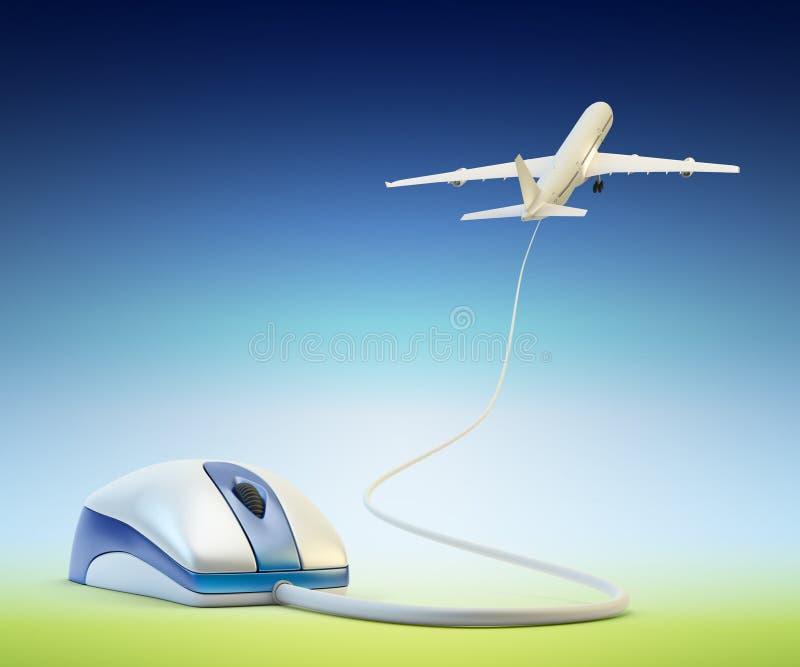 Online luchtkaartjes, vluchtreserve en reisconcept die boeken stock illustratie