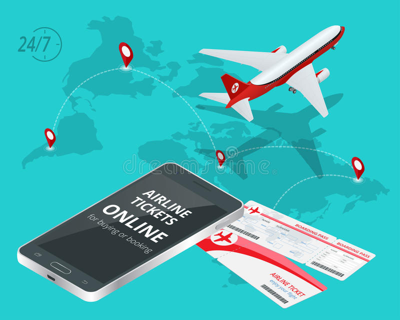 Online luchtvaartlijnkaartjes Het kopen of het boeken Luchtvaartlijnkaartjes Reis, bedrijfsvluchten wereldwijd Online app voor ka vector illustratie