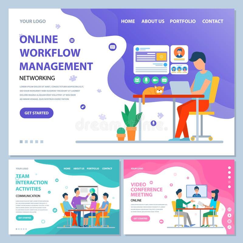 Online-möte för Workflowledningkonferens royaltyfri illustrationer
