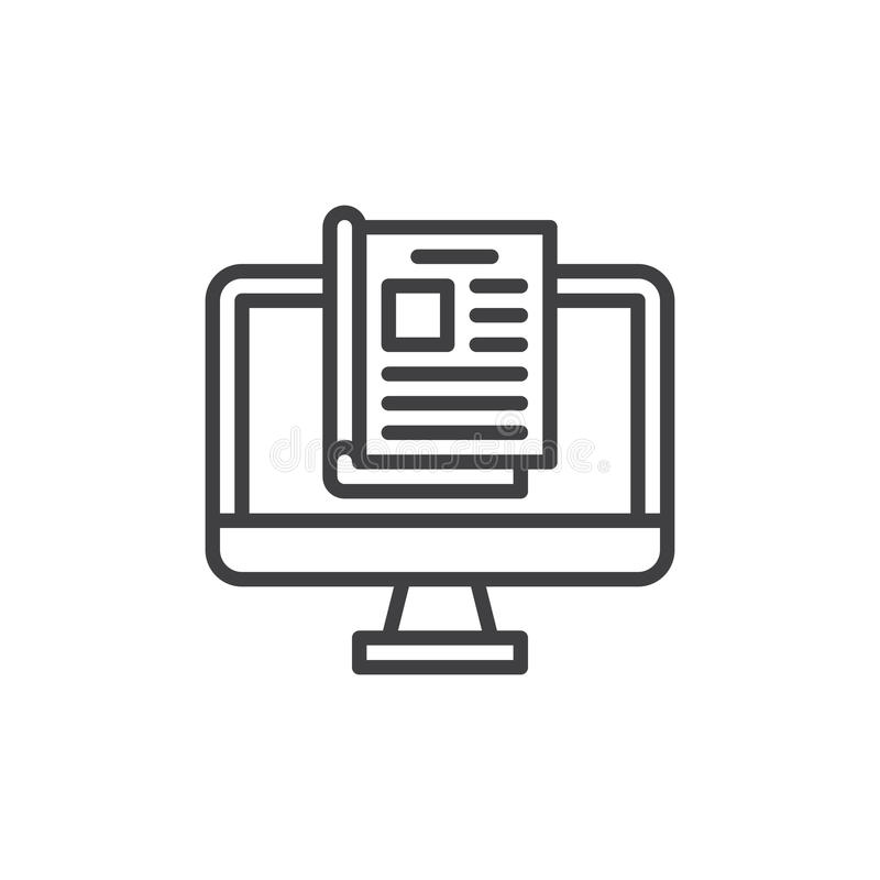 Online magazine line icon, outline vector sign, linear style pictogram isolated on white. Symbol, logo illustration. Editable stroke. Pixel perfect graphics royalty free illustration