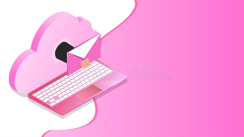 Online mailing from laptop connected with cloud server for Cloud Storage concept. Online mailing from laptop connected with cloud server for Cloud Storage royalty free illustration