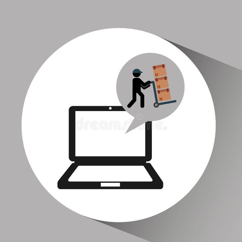 Online-man för leveransbegreppsleverans som skjuter askar vektor illustrationer