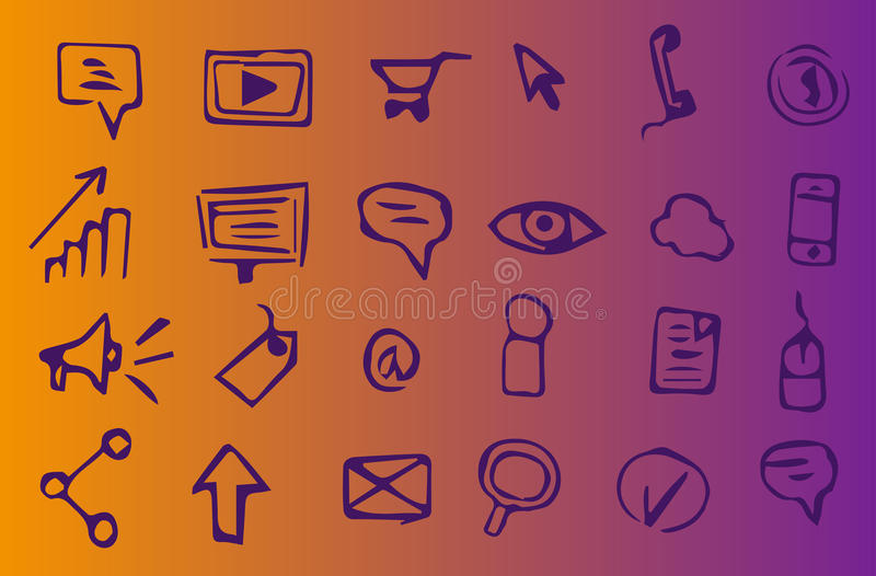 Online marketing, advertising and seo hand-drawn icons. 24 online marketing, advertising and seo hand-drawn icons on violet and yellow background. Suitable to stock illustration