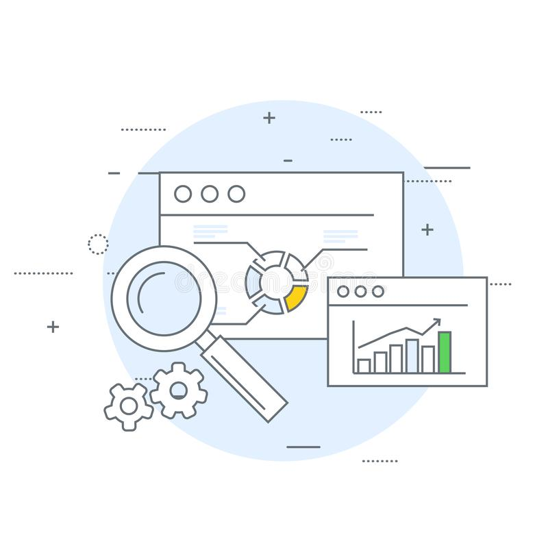 Online marketing and analytics icon - data statistics vector illustration