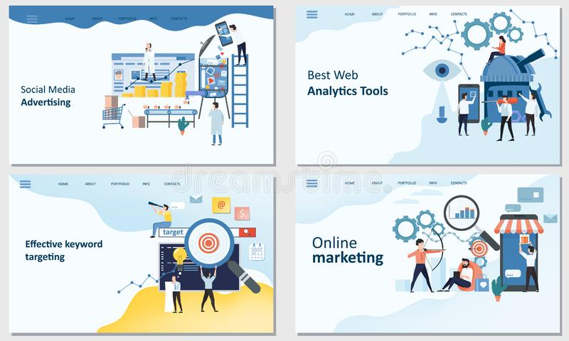 Online marketing, Best Web Analytics tools, Effective keyword targeting tools, Social Media advertising. Mockup landing vector illustration