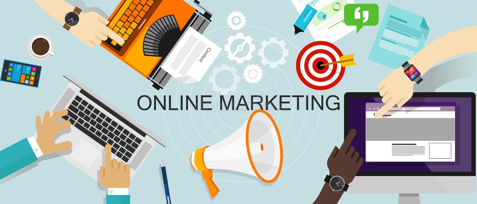 Online Marketing Bevordering het Brandmerken advertentiesweb stock illustratie