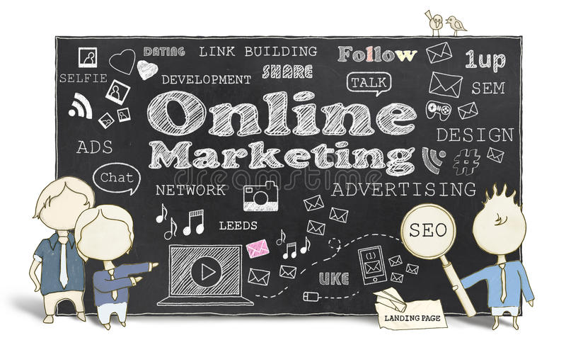 Online Marketing With Business Men royalty free illustration