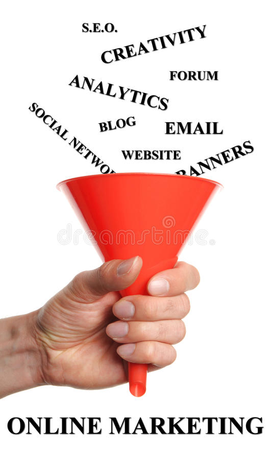 Online marketing concept. Hand holds funnels by fall words into that are necessary for a successful online marketing royalty free stock images