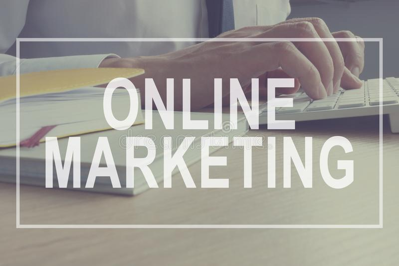 Online Marketing concept. Marketer is working. Branding Strategy. royalty free stock photo