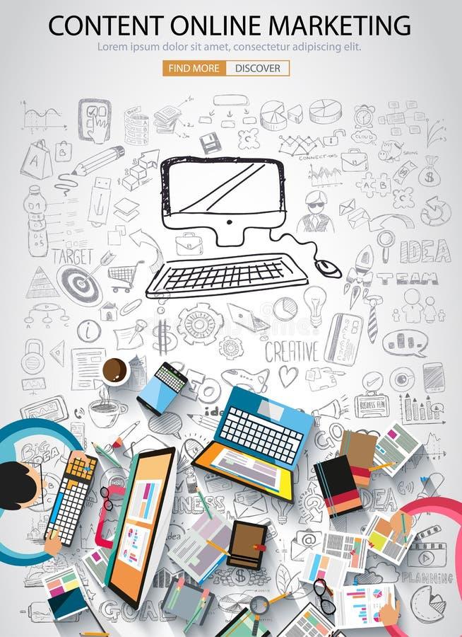 Online marketing concept met de stijl van het Krabbelontwerp royalty-vrije illustratie