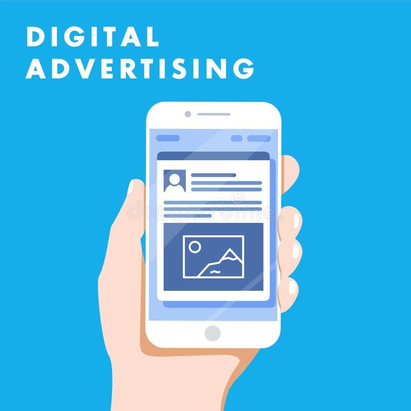 Online-Marketing des Digital-Werbungsanzeigen-Social Media Illustrationskonzept vektor abbildung