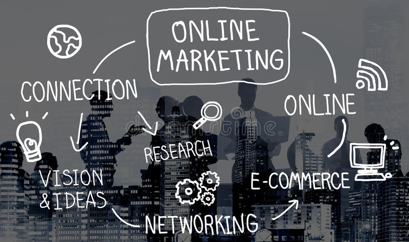Online Marketing Digital Networking Strategy Vision Concept stock photography