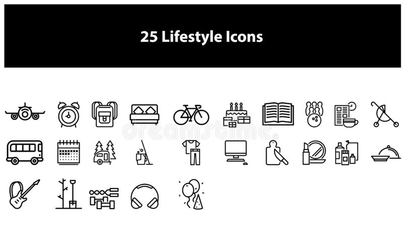 Black Vector lifestyle icons set royalty free illustration