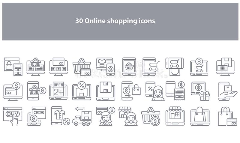 Vector grey online shopping icons - Vector vector illustration