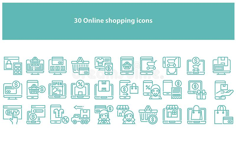 Vector torquoise online shopping icons - Vector. Vector online shopping icons set in multiple colors for apps and websites vector illustration