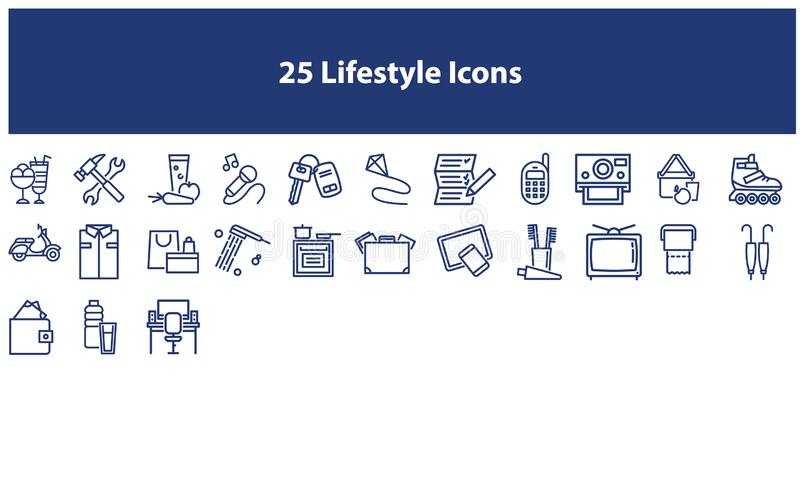 Dark Blue Vector lifestyle icons set. Vector lifestyle icons  set in the dark blue color for apps and websites vector illustration