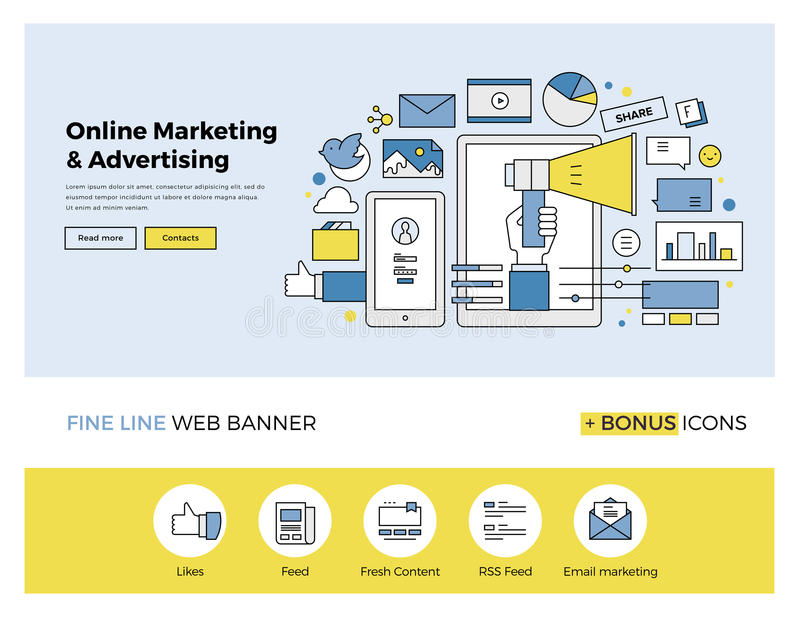 Online marketing flat line banner. Flat line design of web banner template with outline icons of online marketing promotion, digital advertising research, SMM royalty free illustration