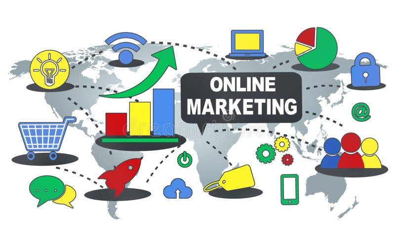 Online Marketing Handels Globaal Bedrijfsstrategieconcept vector illustratie