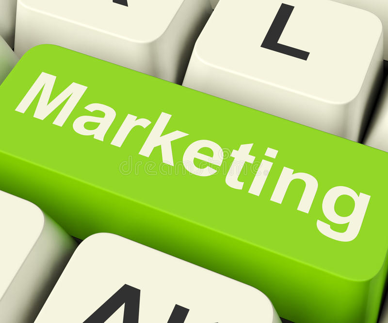 Online Marketing Key Can Be Blogs Websites Social Media And Email Lists royalty free stock image