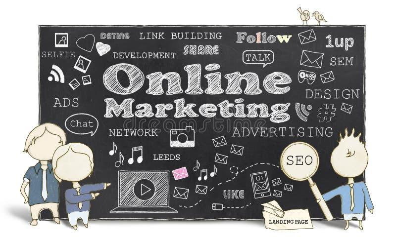 Online-Marketing mit Geschäftsleuten lizenzfreie abbildung