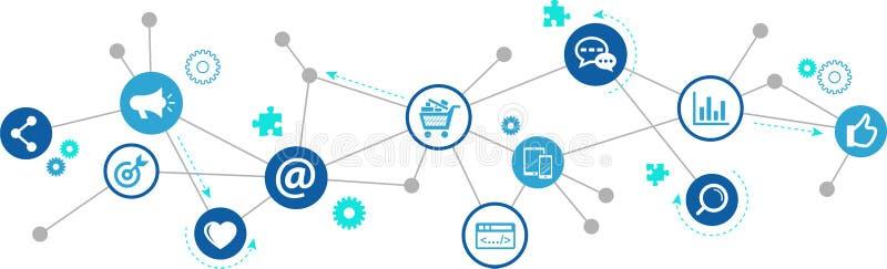 Online marketing, ogólnospołeczny medialny marketing/SEO - ilustracja ilustracji