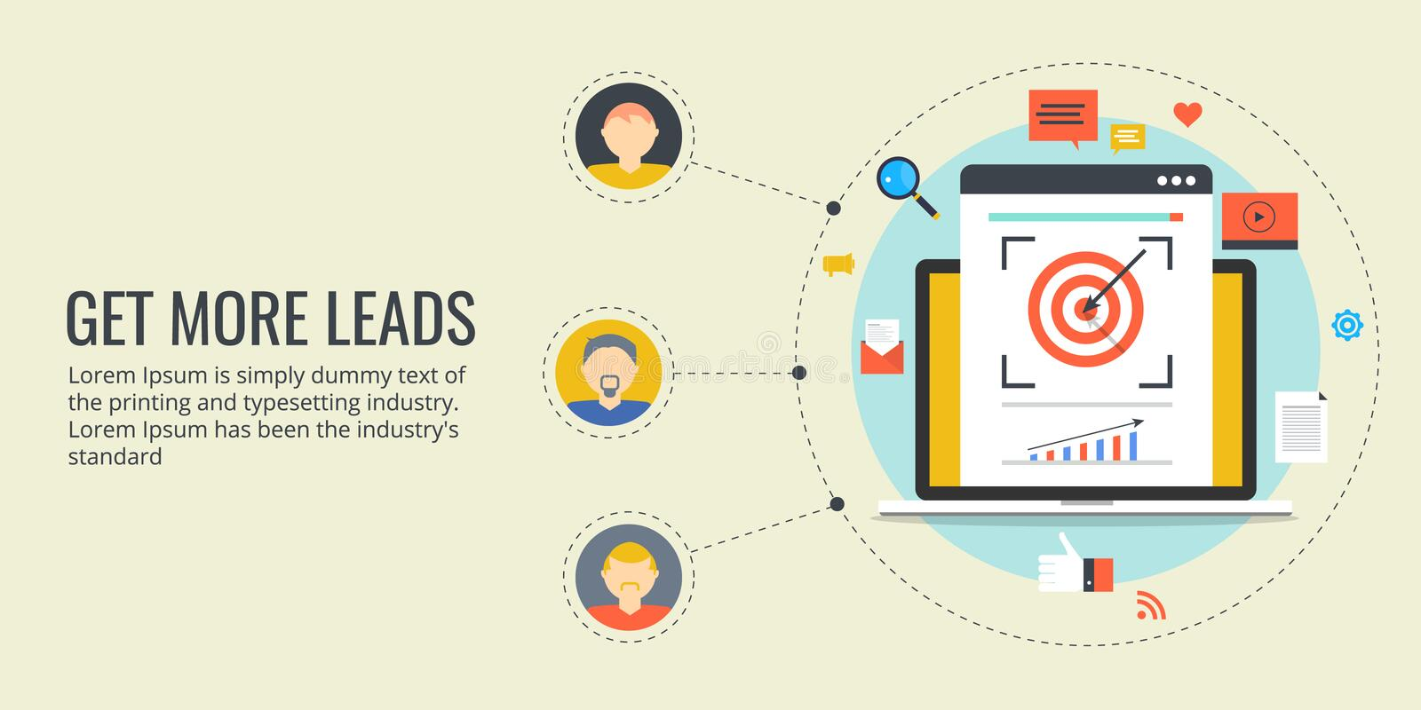 Get more leads - online lead generation process. Flat design marketing banner. stock illustration