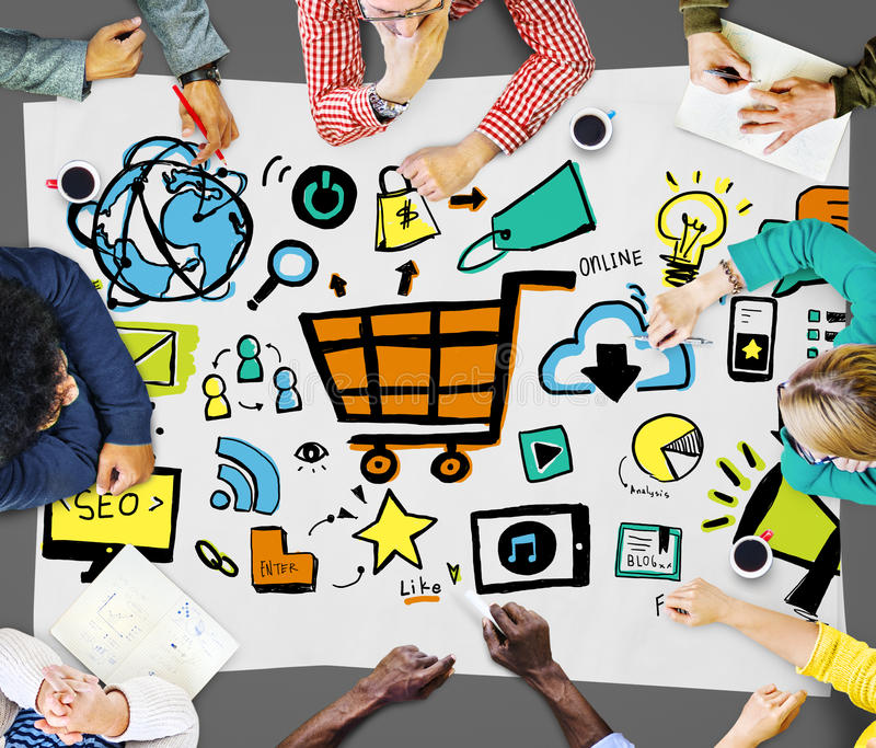 Online Marketing Strategy Branding Commerce Advertising Concept stock photography