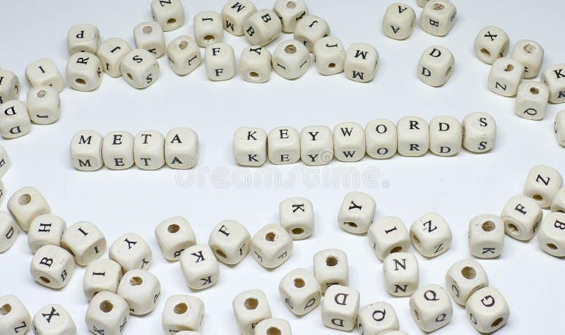 Online marketing termijn op de witte sleutelwoorden van achtergrond houten abcmeta stock fotografie
