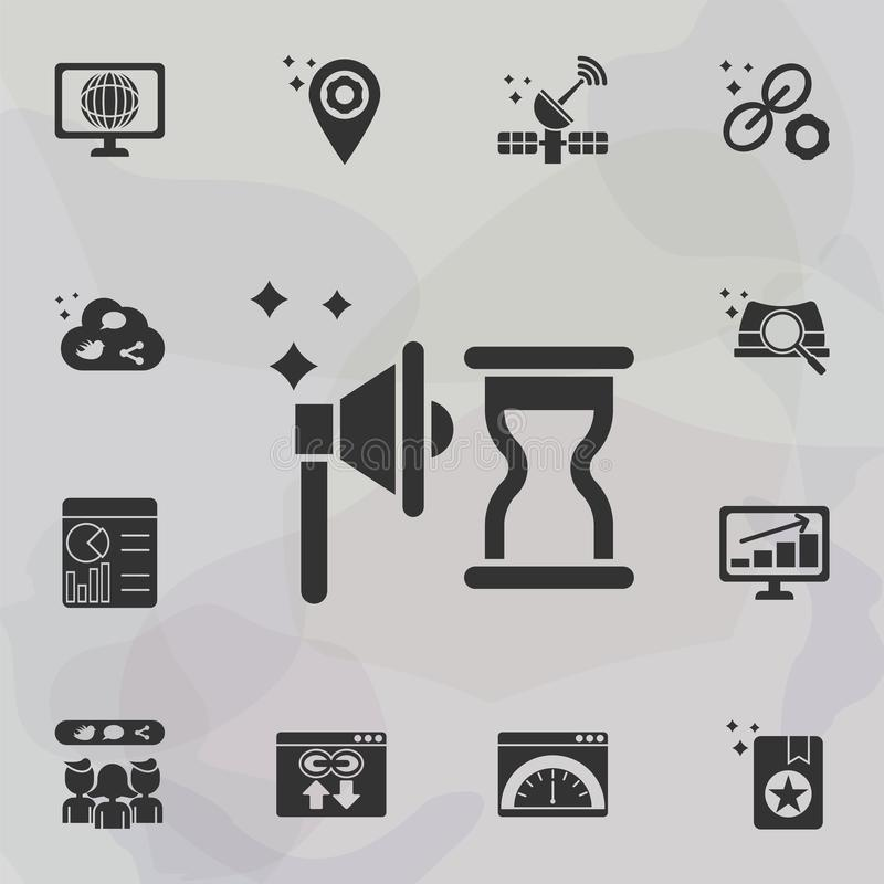 Online marketing, timing icon. Universal set of online marketing for website design and development, app development vector illustration