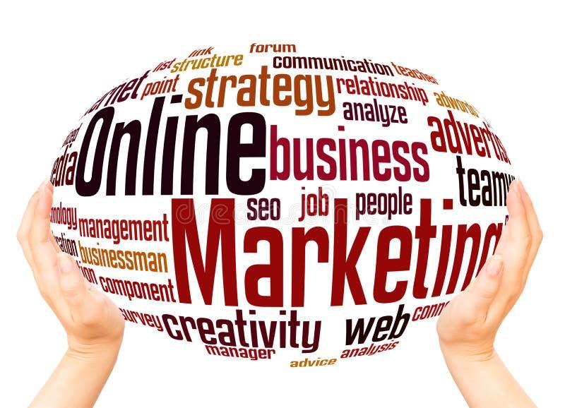 Online Marketing word cloud hand sphere concept stock photo