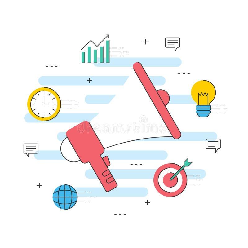 Online marketingowa reklamowa komunikacja, wiadomości promocji biznes ilustracja wektor