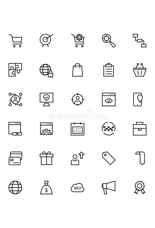Online marketingowe wektor linii ikony 3 ilustracji