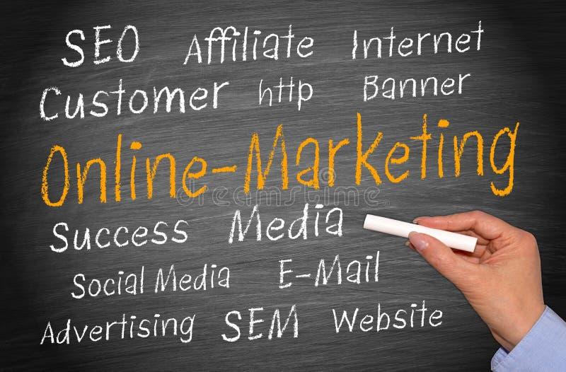 Online marketingowy chalkboard  obrazy stock