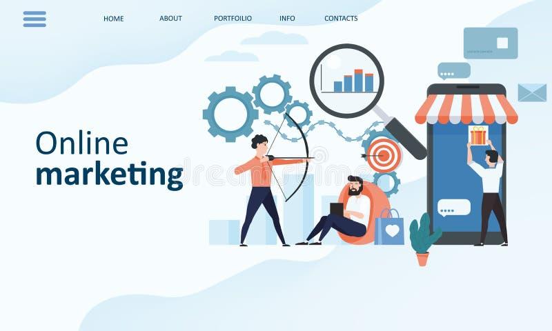 Online marketingowy lądowanie strony szablon Nowożytnego trendu projekta płaski pojęcie strona internetowa projekt dla strony int ilustracja wektor