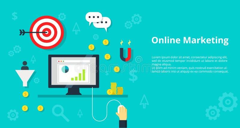 Online marketingowy online promocyjny ruchu drogowego pojęcia interneta bisiness i reklamowe ikony - ilustracja ilustracji