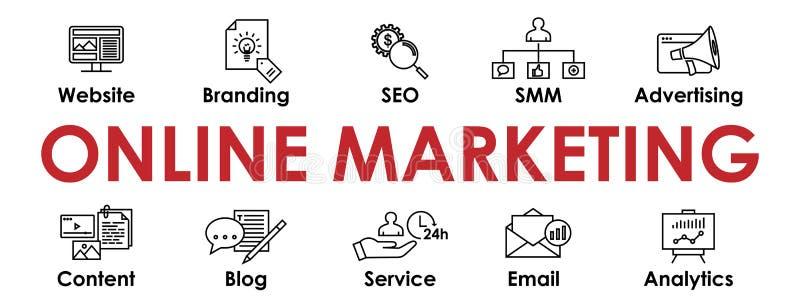 Online Marketingowy sztandar z ikonami inkasowymi royalty ilustracja
