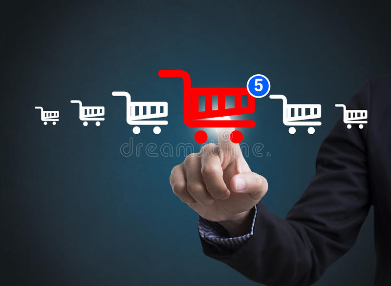 Online-Marketings-Geschäftstechnologie Konzept, welches das Einkaufen vorwählt lizenzfreies stockfoto