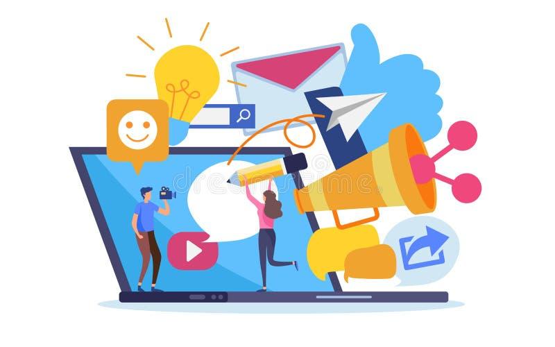 Online-Marketings-Inhalt des Sozialen Netzes Karikaturillustrations-Vektorgraphik lizenzfreie abbildung